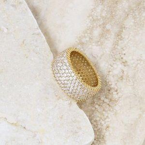 ettika 18k Gold Plated & Crystal Thick Band Ring